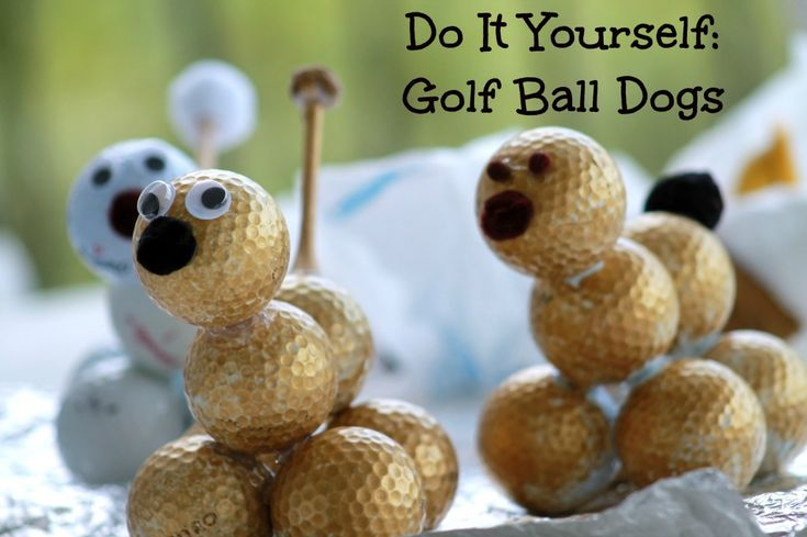 Do It Yourself Golf Ball Dog for Father's Day -  Perfect for dad that love dogs and dads that love to golf! For step by step Instructions visit http://twolittlecavaliers.com/2013/06/do-it-yourself-golf-ball-dog-for-fathers-day.html