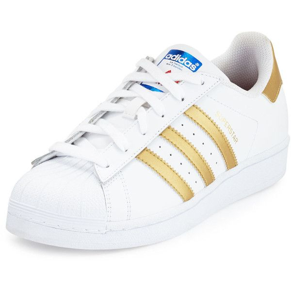 adidas Superstar Original Fashion Sneaker (1.180 ARS) ❤ liked on Polyvore featuring shoes, sneakers, white, adidas footwear, metallic sneakers, leather low top sneakers, white trainers and leather sneakers