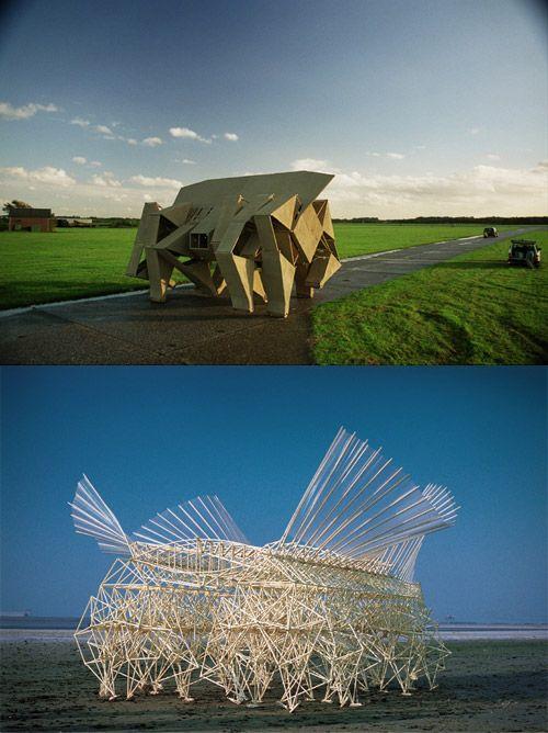 Worth investigating thru to the video... the structure at the bottom walks itself via wind! (Theo Jansen :: Strandbeest Wind-Powered Organisms)