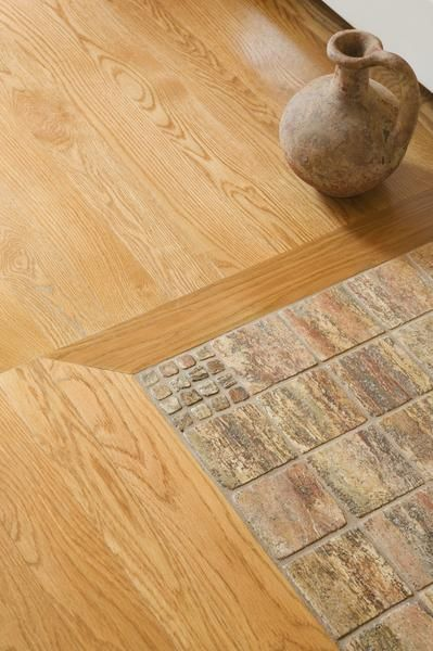 hardwood and ceramic flooring combined