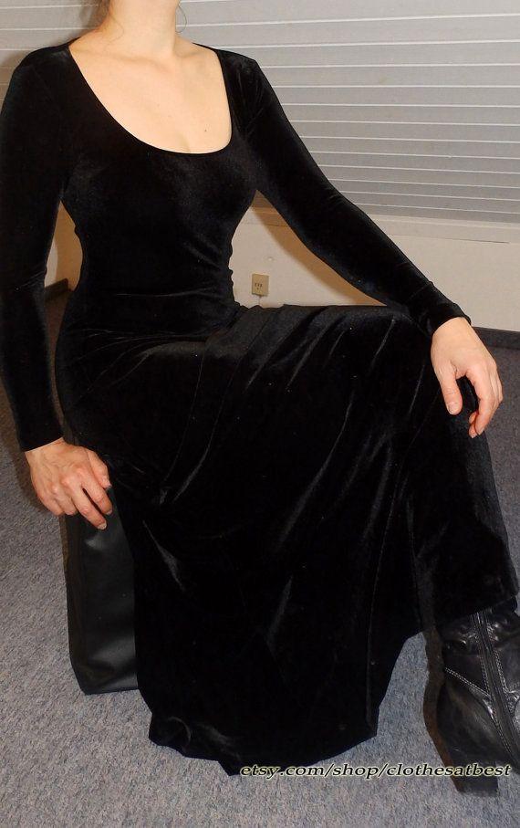 Nicki black long sleeve velvet dress black velvet by ClothesAtBest