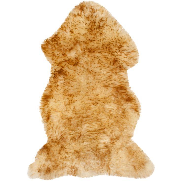 Safavieh Prairie Natural Pelt Sheepskin Wool Champagne/ Copper Brown Shag Rug (2' x 3') (SHS121K-2), Size 2' x 3' (Felt, Solid)
