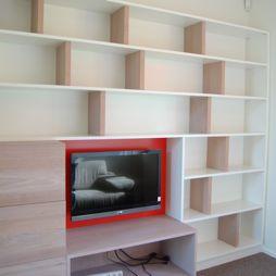 kast, voor, boeken, en, Tv