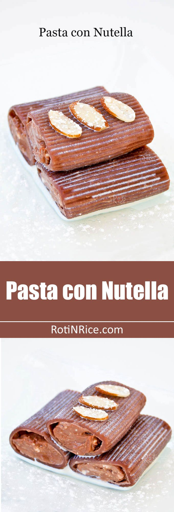 Pasta con Nutella, an easy dessert of chocolate tube pasta filled with nutella and cream cheese drizzled with chocolate liqueur sauce. Different but yummy! | RotiNRice.com