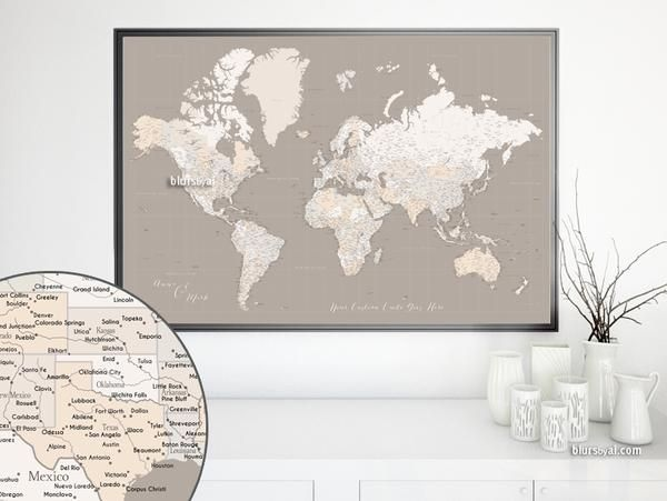 12 best large and highly detailed world map prints on paper personalized world map print highly detailed map with cities in light earth tones gumiabroncs Image collections