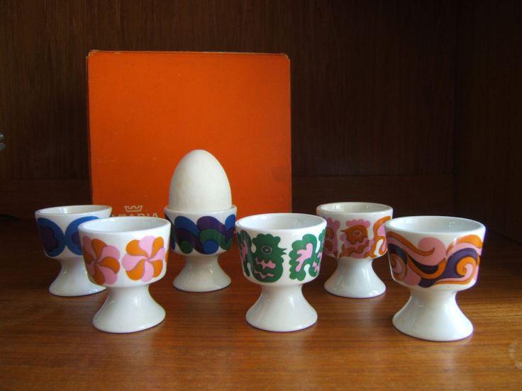 1970s Midcentury Modern Arabia Finland 6 Laura Egg cup Set Orig Box Kaarina Aho…