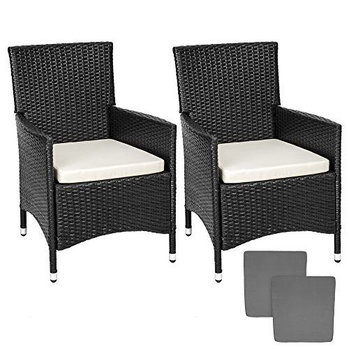 tectake 2 x poly rattan garden chairs aluminium frame armchair set cushions 2 sets for exchanging the upholstery stainless steel screws black