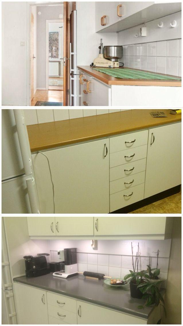 Enkla förändringar i kök. Kökshandtag bytta, list med belysning, målad bänksockel och bänkskiva (skivans faneren slipades och målades med vidhäftningsfärg innan den valda kulören).