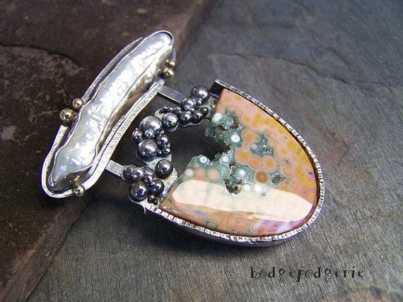 Ocean Jasper Pearl 18 Karat Gold and Sterling by hodgepodgerie2