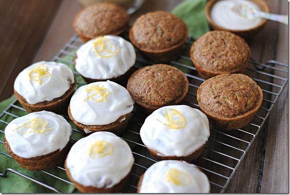 Zucchini (& Quinoa) Cupcakes with Greek Yogurt Frosting - healthier cupcakes!