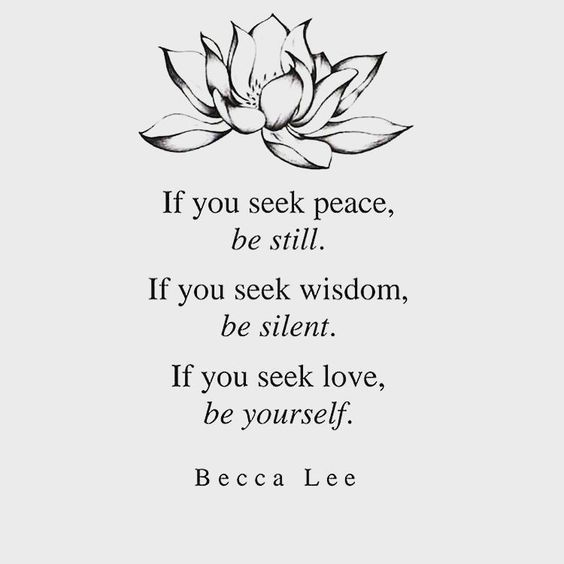 If You Seek Peace Be Still If You Seek Wisdom Be Silent