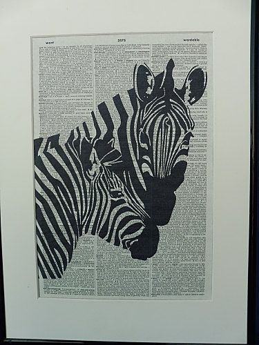 Zebras Dictionary Wall Art Print zebras poster by DecorisDesigns