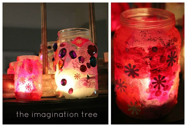 Create beautiful stained glass lanterns using recycled glass jars, tissue paper and sequins! Perfect for an afternoon art activity on these dark Autumn and Winter afternoons and they look so beautiful glowing with candles on the mantlepiece!