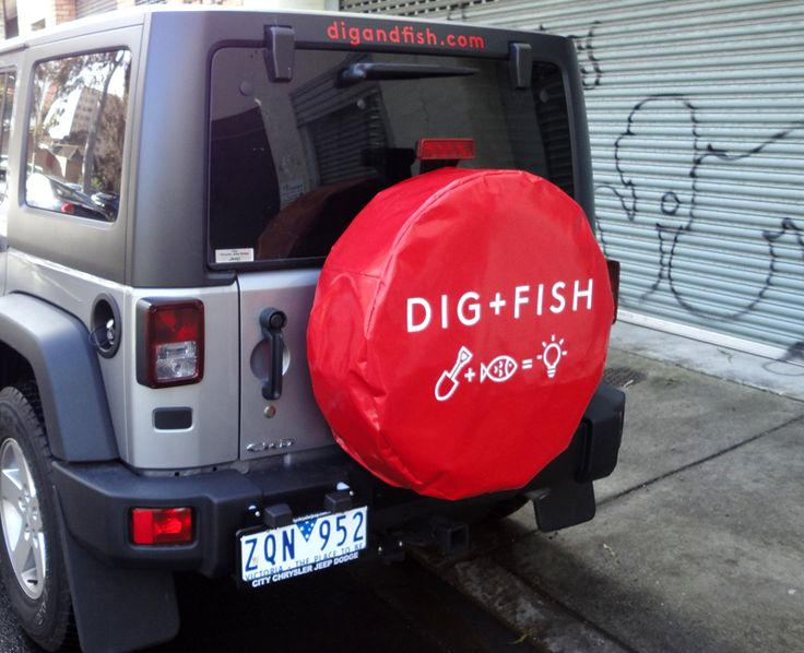 Dig + Fish, #sparewheelcover #brandingwheelcover