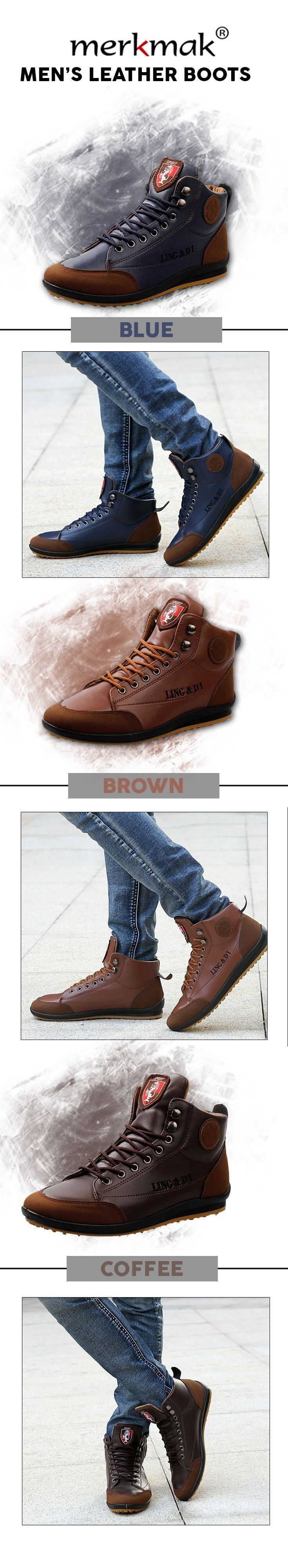 Men s leather high ankle boots Merkmak fashion leather shoes Men s top brand style affordable