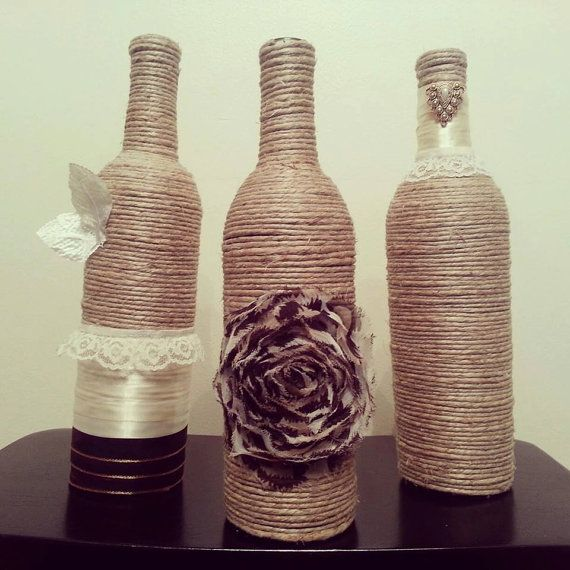 Wine Bottle Decor  Set of 3 Bottles by Uchique on Etsy, $26.00