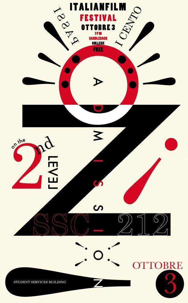 Italian Film Festival Poster - Futurist Poster Designed for School Film Festival