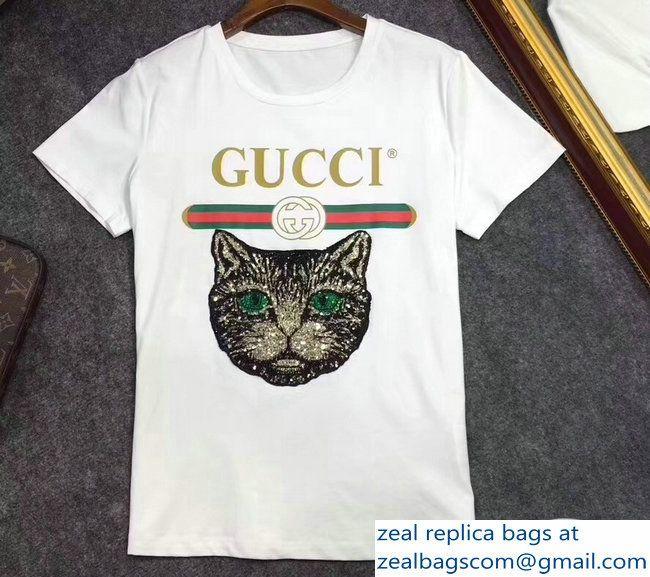 783c192d105d Gucci T-shirt Vintage Logo Cat White 2018 | Luxury Clothes | T shirt ...