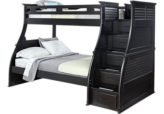 shop for a belmar black 4 pc twin full step storage bunk bed at rooms to go kids find that will. Black Bedroom Furniture Sets. Home Design Ideas