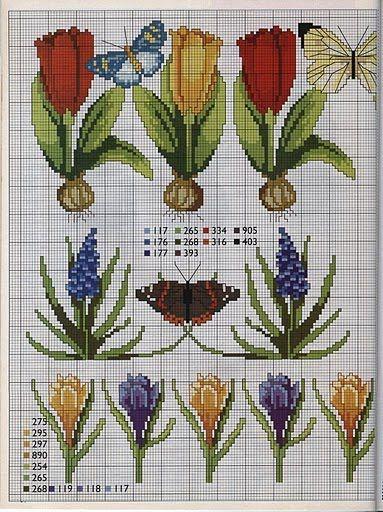 Punto de Cruz GRATIS: Cenefas de flores,bulbosas y mariposas
