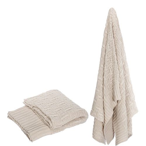 Ivory Polyester Throw