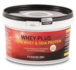 WHEY PLUS.  100% whey protein & soia protein.  Suplemento deportivo concentrado de proteinas con recuperadores.  http://www.powergym.com/es/productos/todos-los-productos/whey-plus