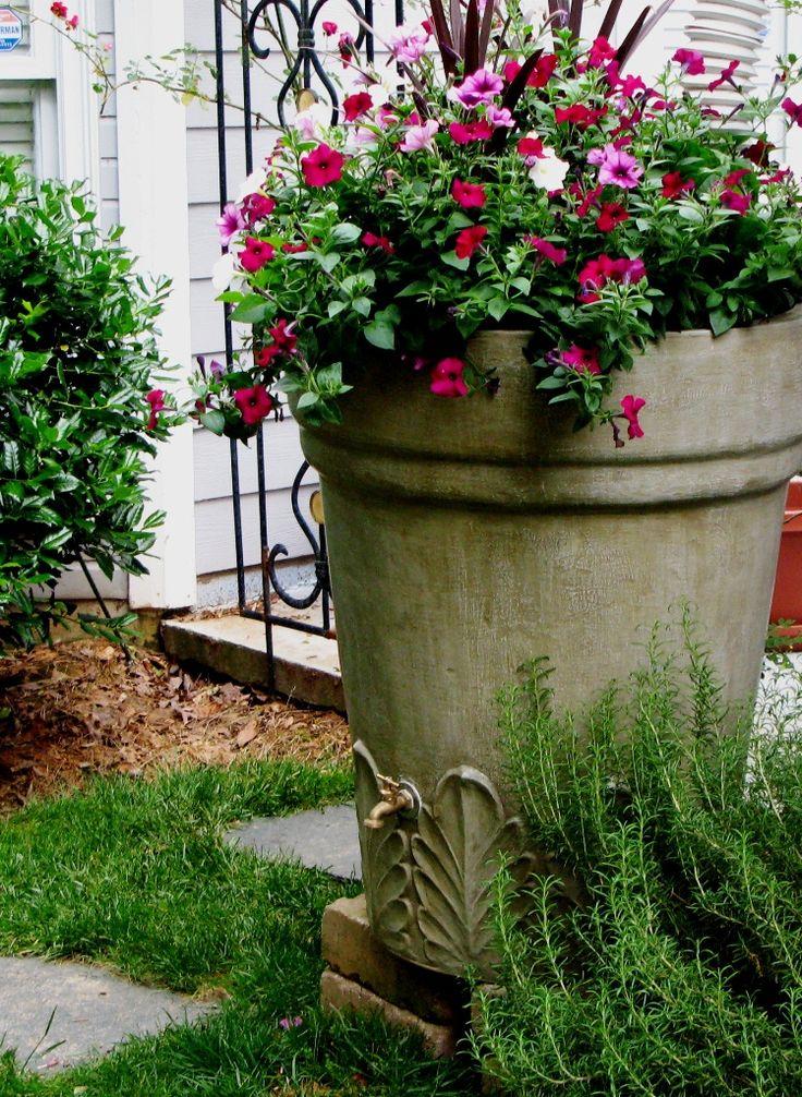 Brookhaven Rainbarrels, Atlanta, GA :: made to look like old pottery and decorative urns.