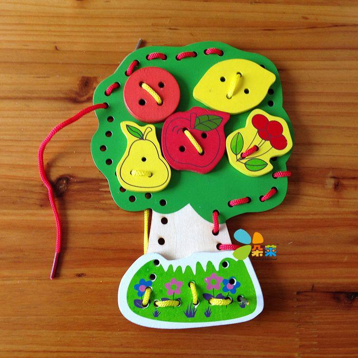 Детские игрушки деревянные блоки фруктовых деревьев бусины монтессори строительные блоки деревянные игрушки раннего обучения игрушки образование подарок на день рождения