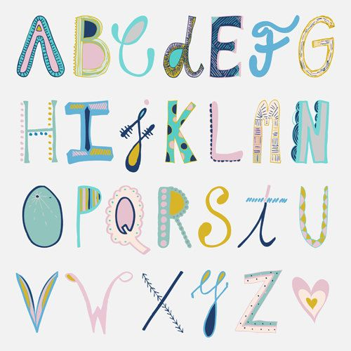 Alphabet on pastel colors Digital Print by by attitudeandjoy