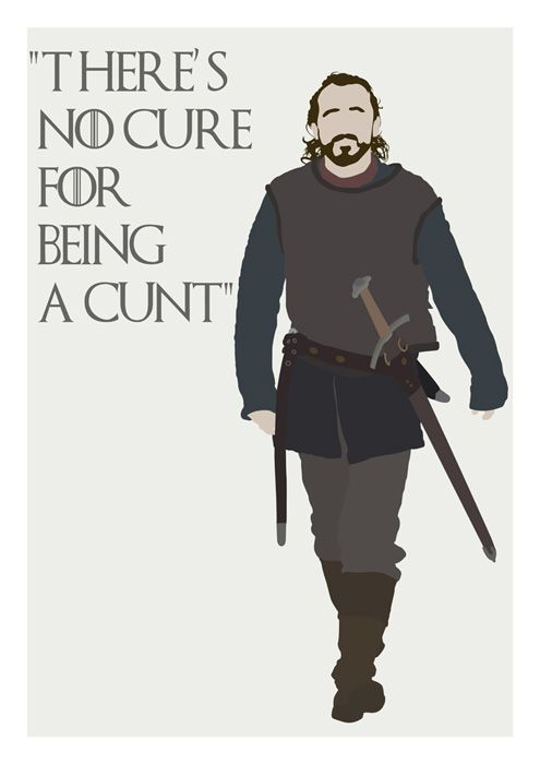 "Bronn (Game of Thrones) ""There's no cure for being a ...""  from 8.00 Printed on high quality 280 gsm smooth white card Available in 2 sizes: • A4 (297mm x 210mm) (11.7inch x 8.3inch) • A3 (420mm x 297mm) (16.5inch x 11.7inch)  (Frame and mount not included)  • A truly unique minimal print from Posteritty, designers of the largest range of minimal posters on the interweb • All prints from Posteritty are limited edition runs and each print is hand numbered."