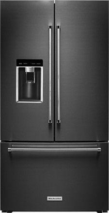 KitchenAid   23.8 Cu. Ft. French Door Counter Depth Refrigerator   Black  Stainless Steel