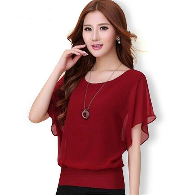 Nueva Moda Para Mujer Tops 2017 Mujeres Del Verano Blusa de La Gasa Plus el tamaño de la Colmena Del Batwing Camiseta de Manga Corta Casual Negro Blanco Rojo azul