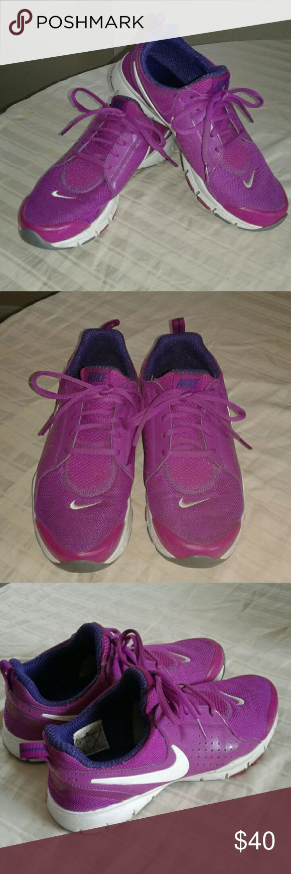 Womens Nike running shoes Purple with white running shoes and dark purple inner linning. Which also comes with a memory foam sock liner. Itgreat conditions. Nike Shoes Sneakers