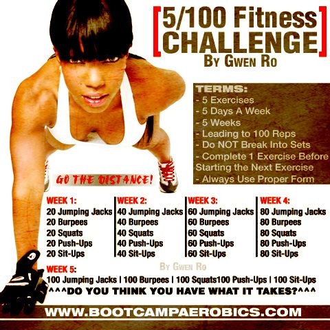 """Gwen Ro (Bootcamp Aerobics): Do you think you have what it takes to go the distance??? Try my """"5/100 Fitnes Challenge"""" !"""