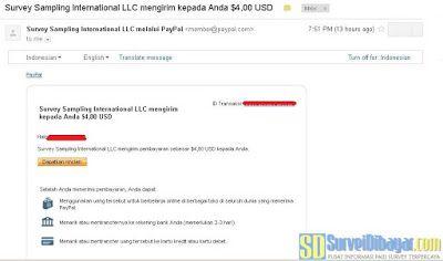 Bukti pembayaran OpinionWorld Indonesia melalui PayPal | SurveiDibayar.com