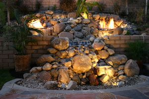 A Natural Looking Hillside Creation Using Water, Fire and Aquatic Glassel