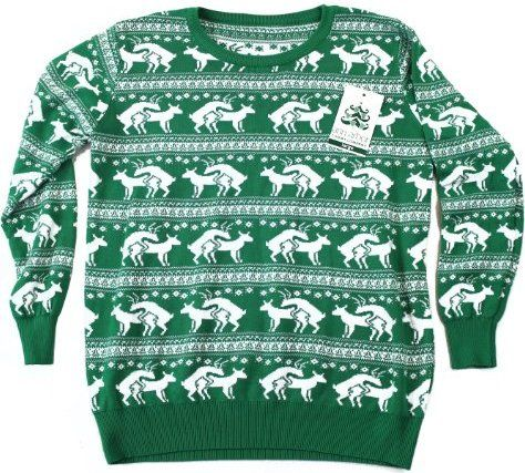 Reindeer Humping Ugly Christmas Sweater Jewelry And