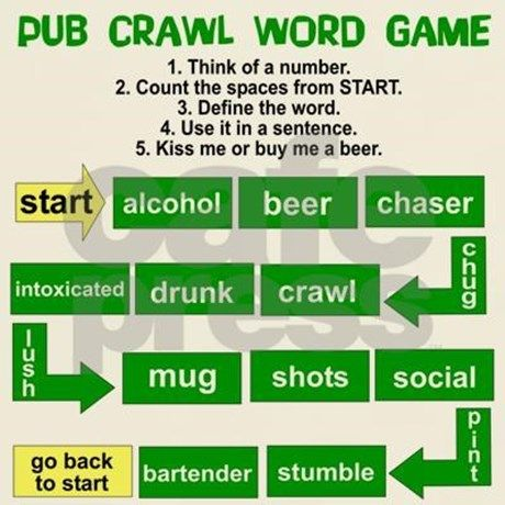 Get his great Saint Patrick's Day Pub Crawl Word Game shirt that you can  play right