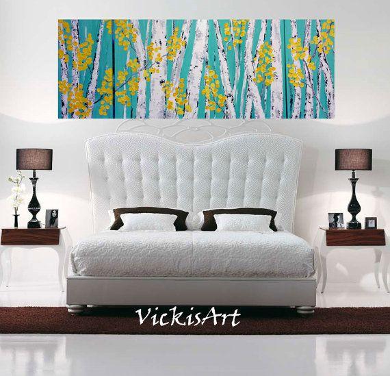 Abedul Aspen árbol Teal pared arte Triptico Original acrílico pintura 56 h - w x 24 x 24 w 2-12 y 1 30w x 24 54 total h w x 24 alta  TAMAÑOS DE ENCARGO Y COLORES DISPONIBLES BAJO PETICIÓN. Mandame una convo con tamaño deseado y te llevará precio.  Profesional galería envuelto en lona. Lados se acaban y pintados igual que la pintura.  Colores utilizados: Luz verde azulado, gris, blanco, negro, amarillo mediano, luz amarilla.  Barniz se aplica en capas duplicadas para la protección de los…
