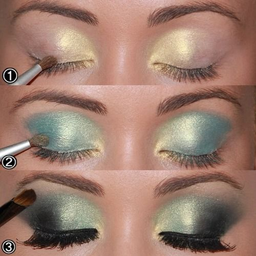 Did this on my eyes today... they came out beautifully! Yellowish gold (inner eye) Teal glimmer (cover 90% eyelid) Soft black (outer edges then blend) Finish off with Black gel liner and thick mascara!