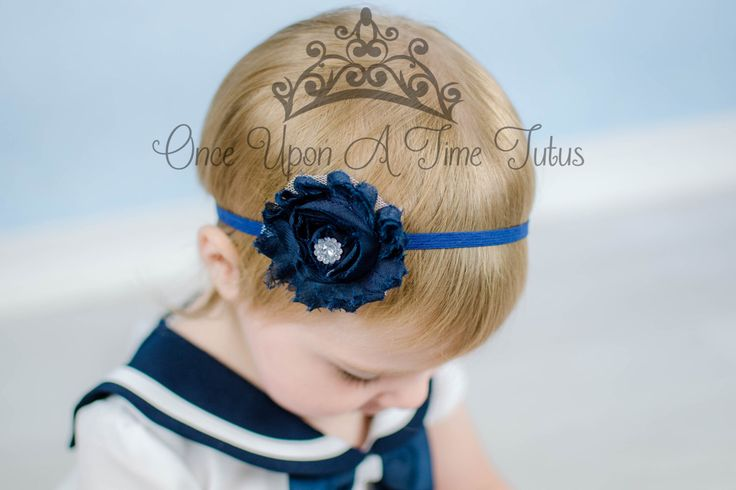 Navy Blue Shabby Flower Headband - Skinny Elastic Dark Shade Solid Color Winter or Christmas Hairbow - Baby Infant Toddler Photo Prop by OnceUponATimeTuTus on Etsy https://www.etsy.com/listing/491704361/navy-blue-shabby-flower-headband-skinny