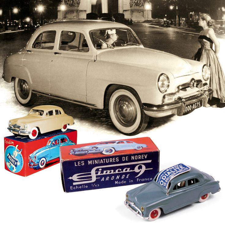 1953 - The first NOREV model released is the SIMCA 9 Aronde made with plastic / La première voiture miniature NOREV sort. Ce sera la SIMCA 9 Aronde, en matière plastique. (1951 & 1954 SIMCA 9 Aronde)