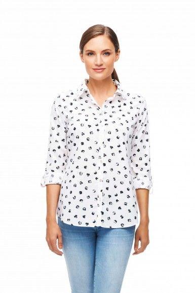 Non-Iron Distressed Dot Print Petite Blouse | Non-Iron | Petite | Foxcroft Clothing