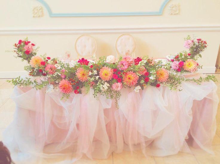 t&co,wedding♡さん(@t.andcoo)のInstagramアカウント: 「#チュール高砂 #秋のお花 #高砂装花  #高砂装飾 」