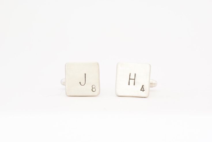 Sterling Silver Personalized Scrabble Cufflinks, Words With Friends Cufflinks, Customized Scrabble Cufflinks, Monogrammed Scrabble Cufflinks by SilverSculptor on Etsy