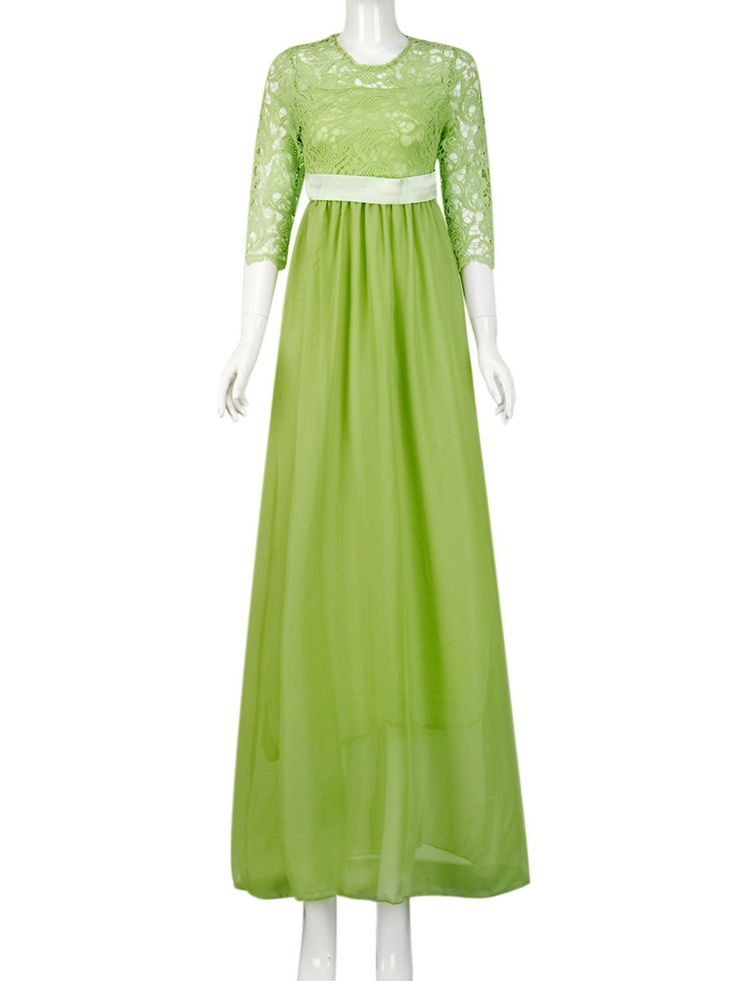 Evening Gowns for Women Lace Long Maxi Formal Wedding Bridesmaid Cocktail Party Prom Ball Gown Half 1/2 Sleeve Dress
