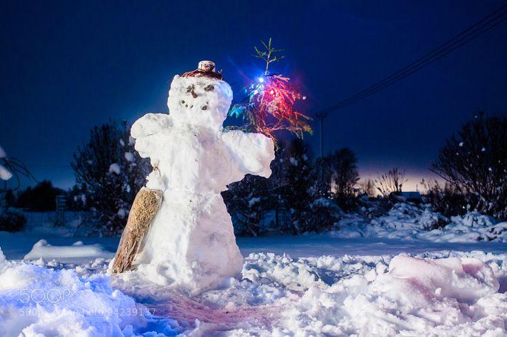 Snowman With A Christmas Tree by JukkaHeinovirta