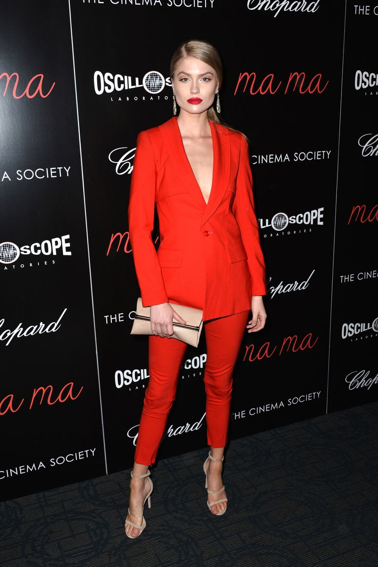 Red About It - Alexandria Morgan's plunging red suit is a perfect alternative to a sleek slip dress.