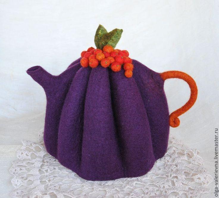 Купить Грелка для чайника Фруктово-ягодный чай. - тёмно-фиолетовый, чай, чайная церемония