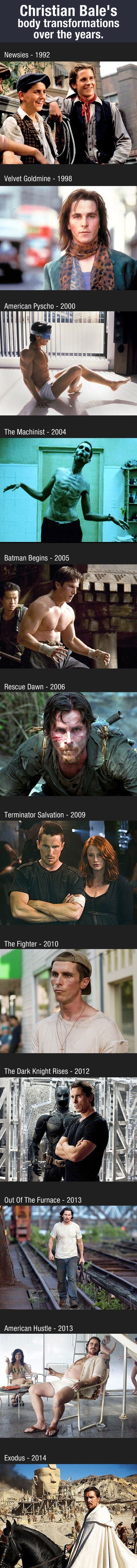 Christian Bale's body transformations over the years